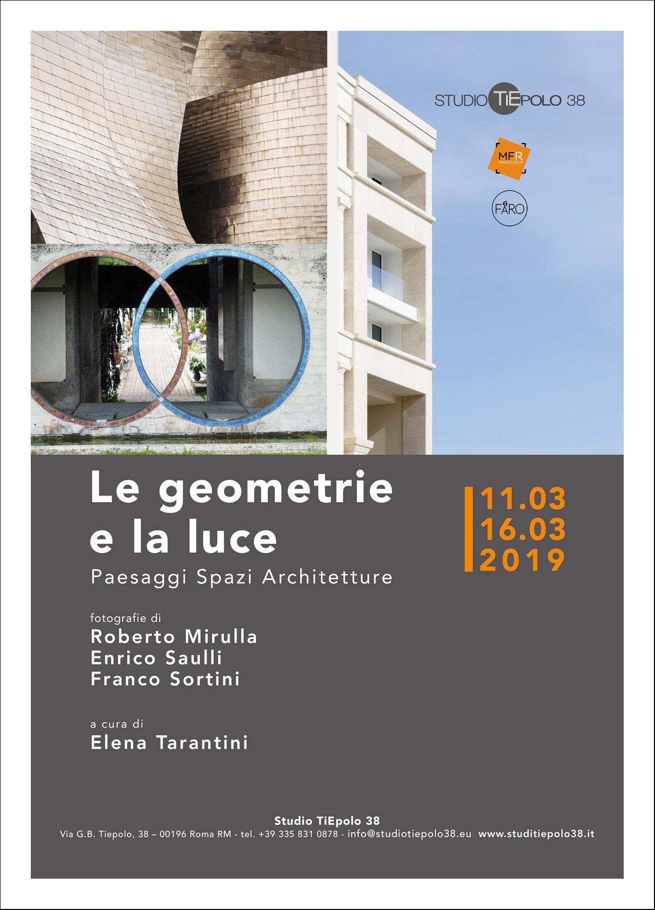 """Volantino della mostra """"Le geometrie e la luce""""."""